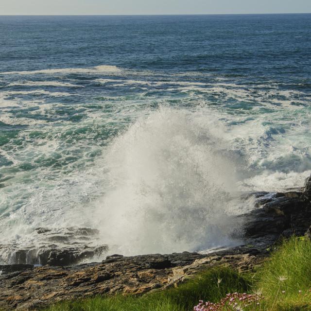 """Surf Breaking, Zennor, Cornwall"" stock image"