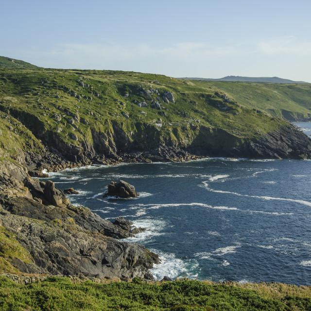 """Tregerthen Cliff, Zennor, Cornwall"" stock image"