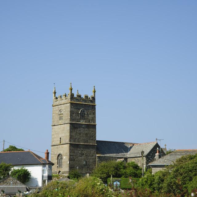"""Zennor Churchtown, Cornwall"" stock image"