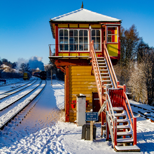 """""""Restored Signal Box at Embsay and Bolton Abbey Steam Railway, Yorkshire."""" stock image"""