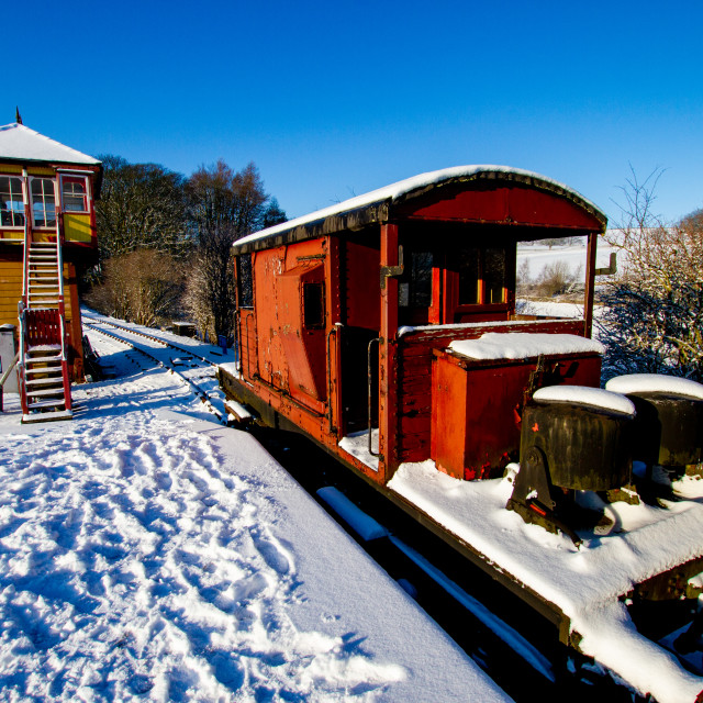"""""""Restored Signal Box and Guards Van at Embsay and Bolton Abbey Steam Railway, Yorkshire."""" stock image"""
