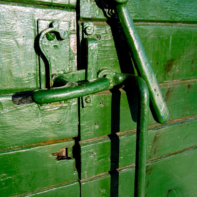 """""""Rolling Stock, Wagon Door Mechanism at Embsay and Bolton Abbey Steam Railway, Yorkshire."""" stock image"""