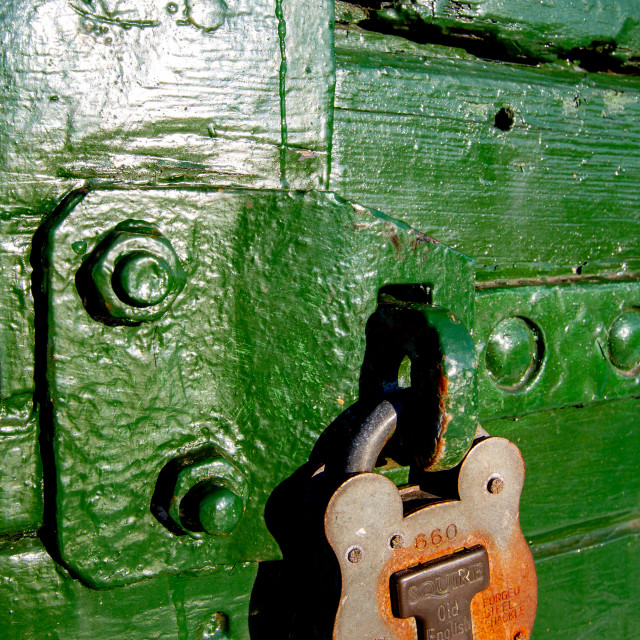 """""""Rolling Stock, Wagon Door Lock at Embsay and Bolton Abbey Steam Railway, Yorkshire."""" stock image"""