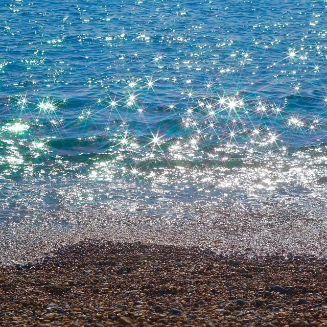 """Sparkling Blue Sea Shore"" stock image"