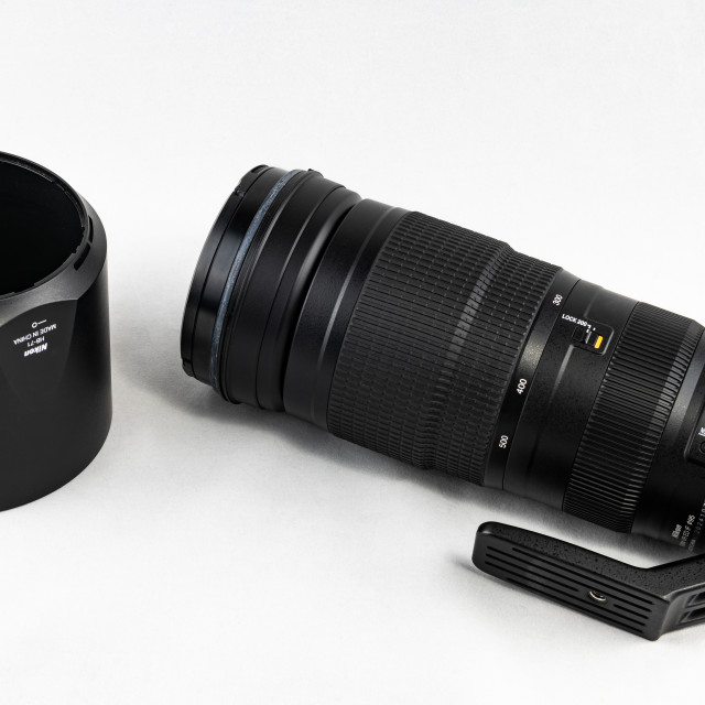 """Nikon 200mm - 500mm Zoom Lens for DSLR Camera"" stock image"
