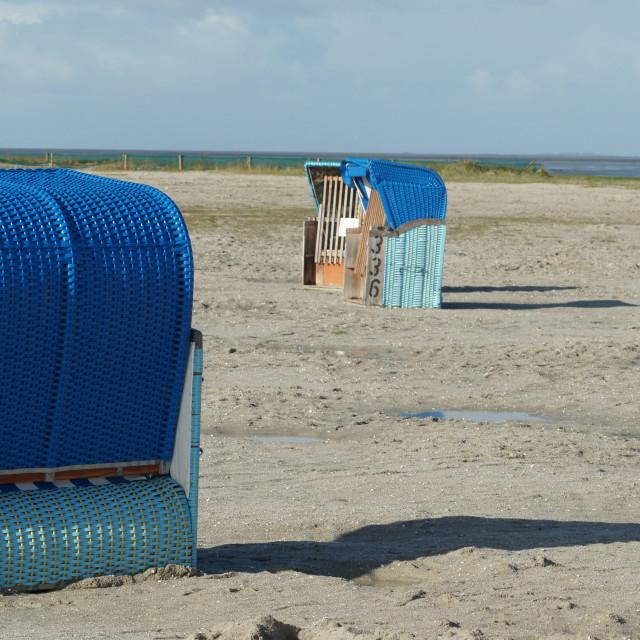 """beach chair at empty beach / Strandkörbe am leeren Strand 1"" stock image"