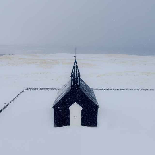 """Black church in Iceland."" stock image"