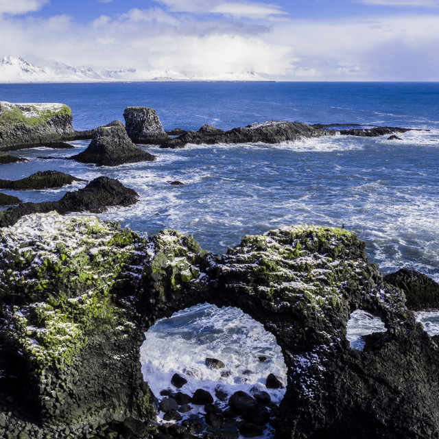 """""""VOLCANIC ARCH ROCK IN ICELAND"""" stock image"""