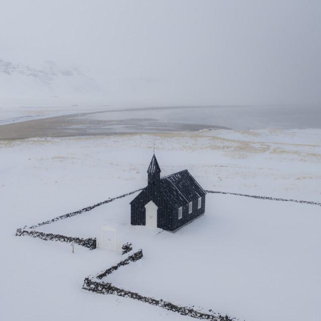 """Black church in Iceland."" stock image"