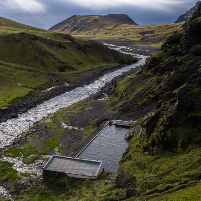 """WILD SWIMMING POOL IN ICELAND"" stock image"
