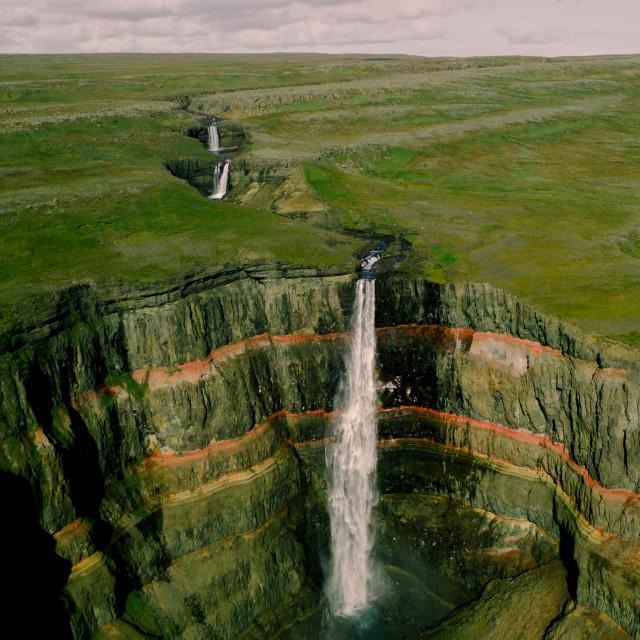 """HENGIFOSS WATERFALL- ICELAND"" stock image"