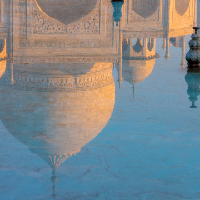 """Reflection of the Taj Mahal"" stock image"