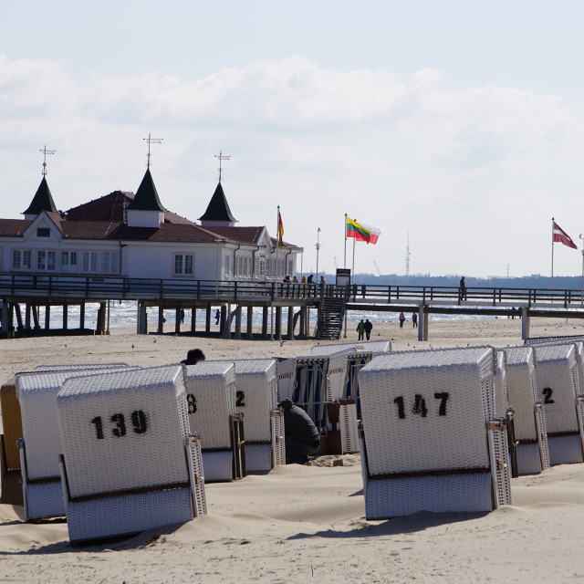 """""""Beach chairs at the Baltic Sea / Strandkörbe an der Ostsee"""" stock image"""