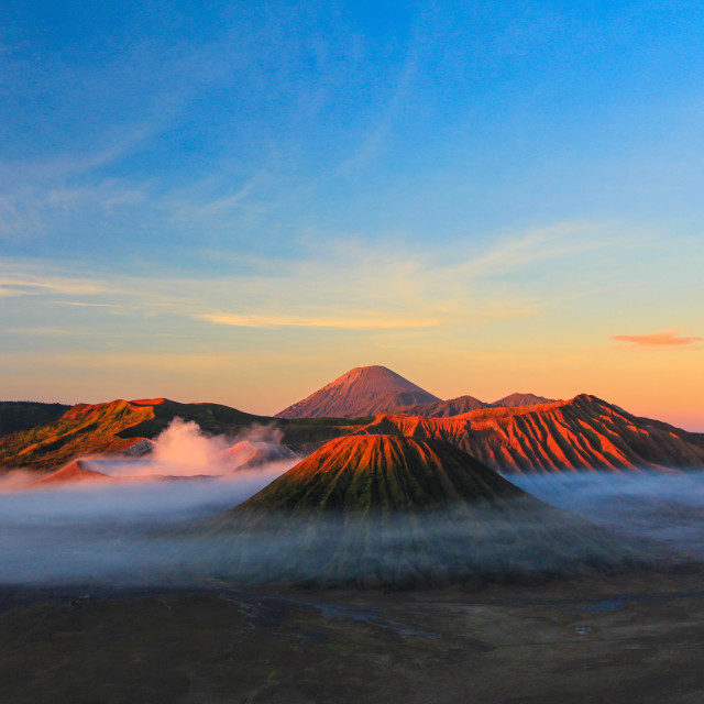 """""""mount bromo at dawn with fog"""" stock image"""