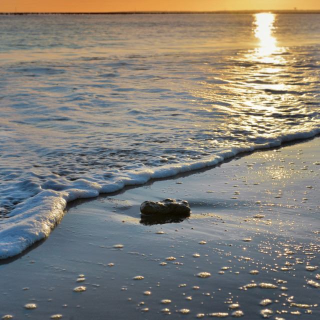 """""""view on wave at sunset on an atlantic european beach"""" stock image"""