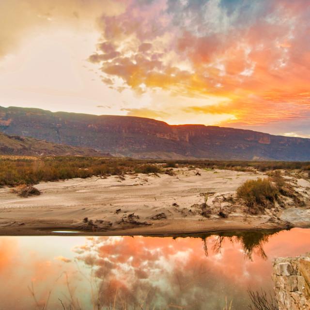 """Desert Mountains at Sunset"" stock image"