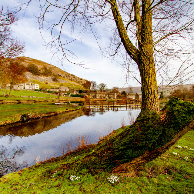 """Kilnsey Park Fly Fishery Lake, Kilnsey, Upper Wharfedale. View through the trees towards Kilnsey Crag."" stock image"