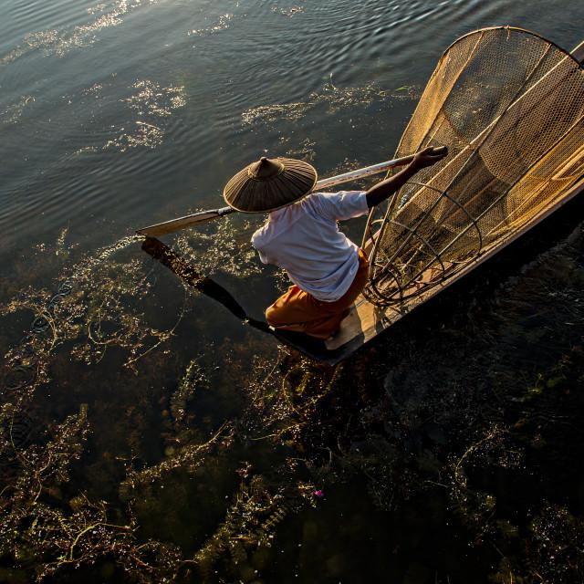 """Inle Boatman 04"" stock image"