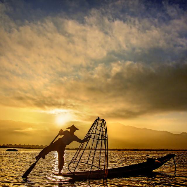 """Inle Boatman 07"" stock image"