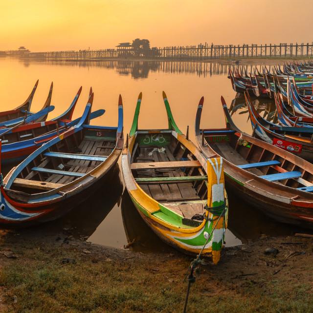 """Thaung Ta Man Lake Sunrise"" stock image"