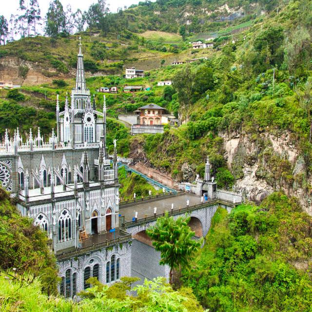 """Las Lajas Sanctuary in Colombia"" stock image"