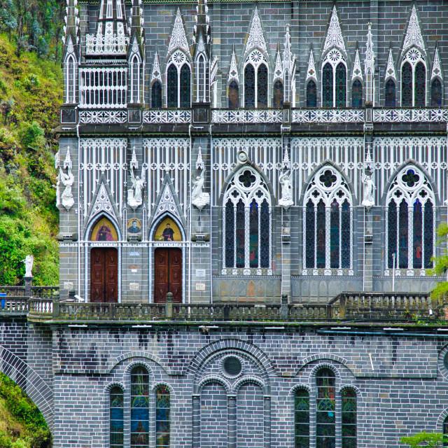 """""""Architectural Detail of Las Lajas Sanctuary"""" stock image"""