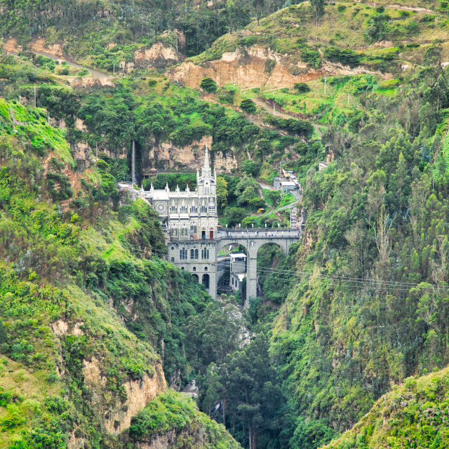"""""""Mountain Valley with Las Lajas Sanctuary"""" stock image"""