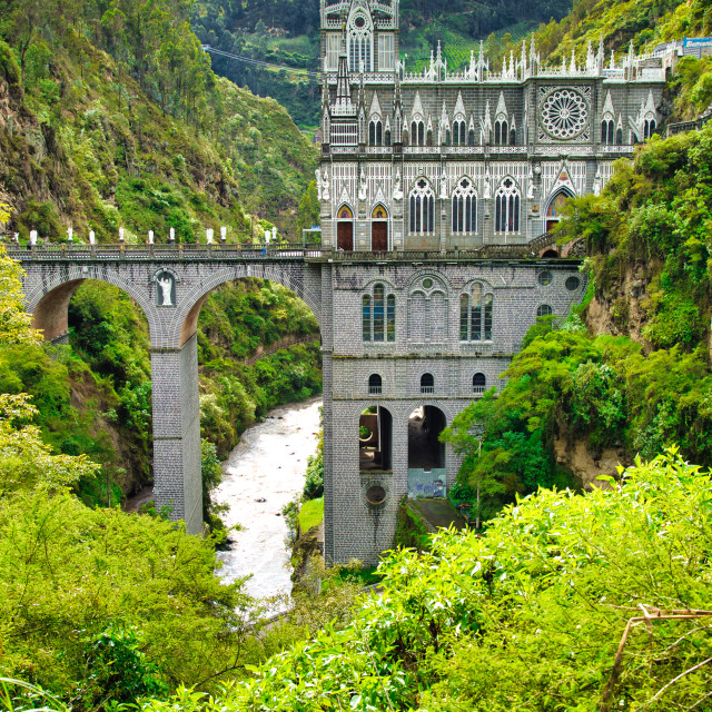 """""""Majestic Church in Lush Tropical Valley"""" stock image"""