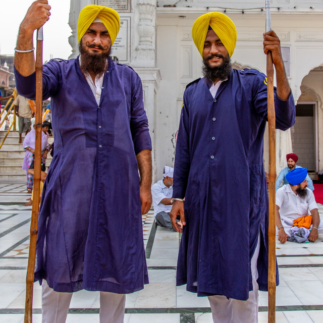 """Sikh Guard at the entrance to the Golden Temple."" stock image"