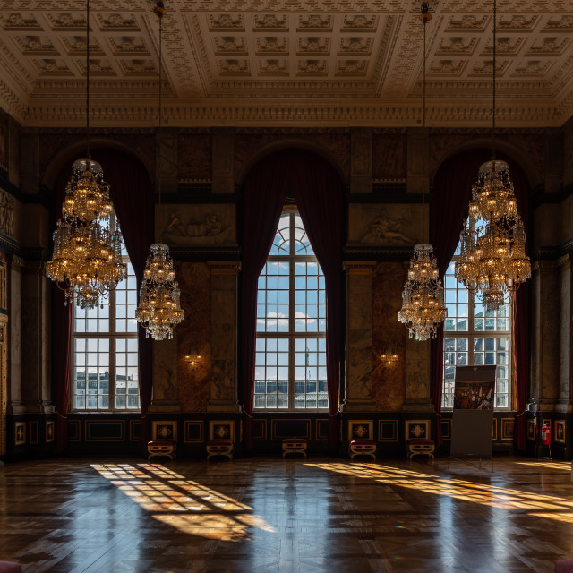 """""""One of the historic rooms inside the Christiansborg Palace"""" stock image"""