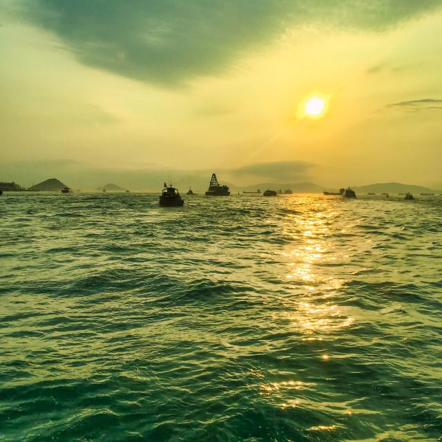 """Sunset Over China Seas"" stock image"