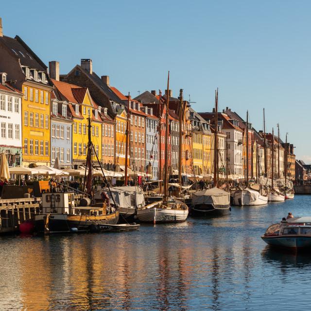 """Landscape of the ancient port of Nyhavn in Copenhagen in Denmark"" stock image"