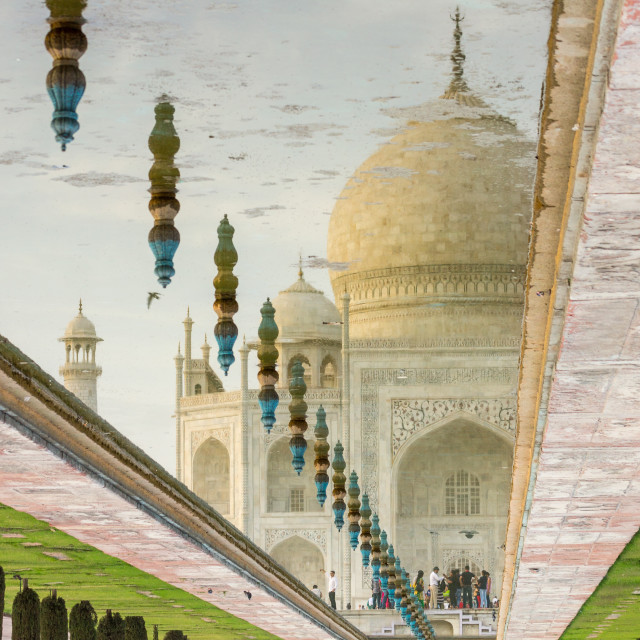 """Evening reflection of the Taj Mahal"" stock image"