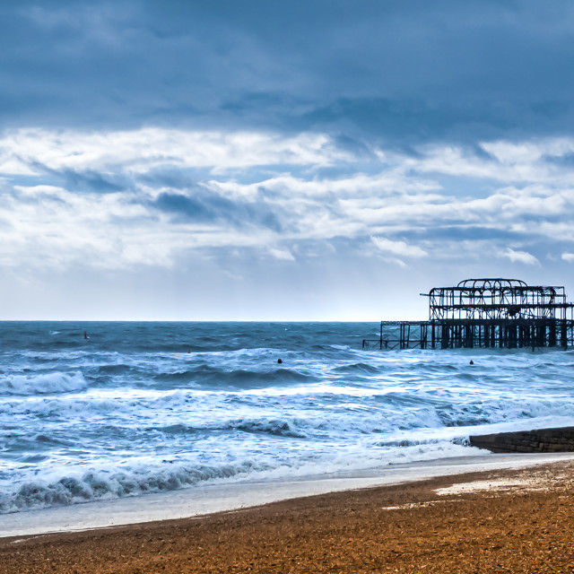 """Brighton West Pier on a stormy day"" stock image"