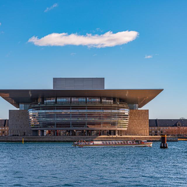 """""""Copenhagen Opera House at dusk, horizontal image of building on"""" stock image"""
