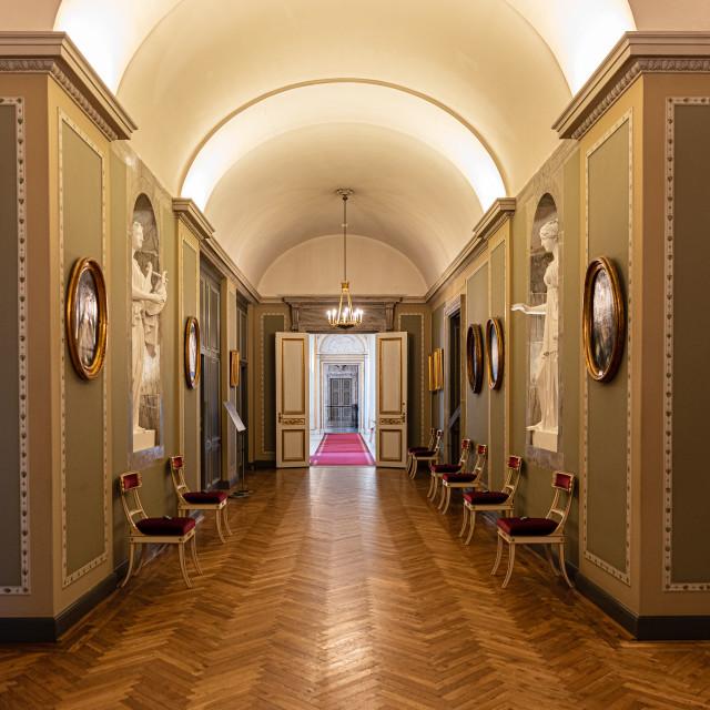 """Interiors of royal halls in Christiansborg Palace in Copenhagen"" stock image"
