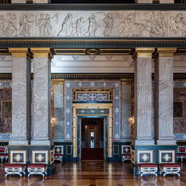"""Interiors of royal halls in Christiansborg Palace in Copenhagen,"" stock image"