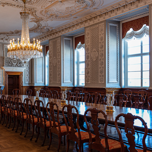 """""""Interiors of the royal halls in the Christiansborg Palace in Cop"""" stock image"""