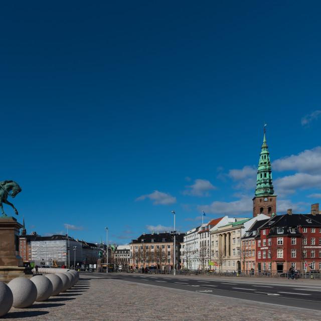"""View from Christiansborg Slotsplads, Copenhagen city street"" stock image"