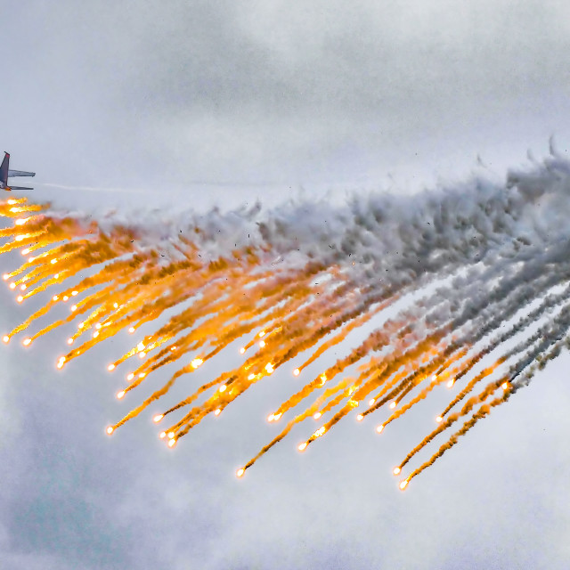 """""""F-15SG Flares Release Performance"""" stock image"""