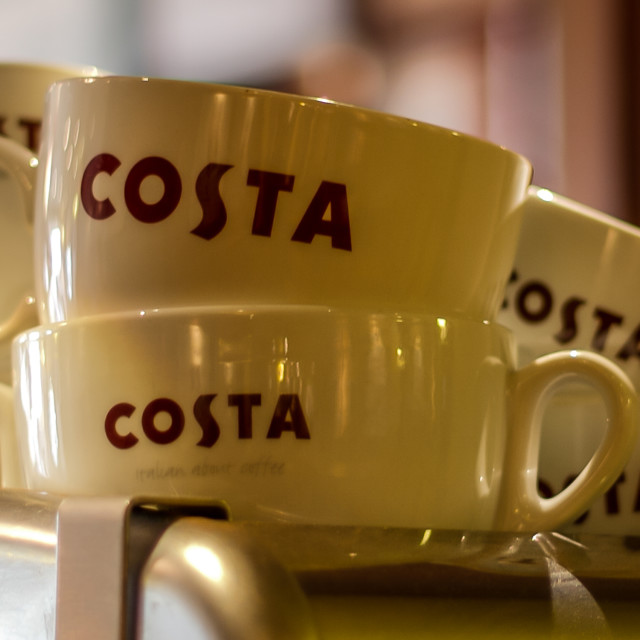 """Coffee cups in Costa Coffee Shop"" stock image"