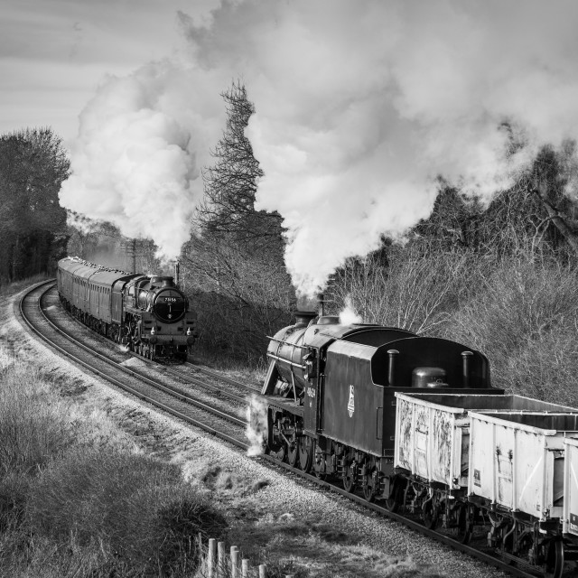 """""""BR Standard Class 5 and LMS 8F"""" stock image"""