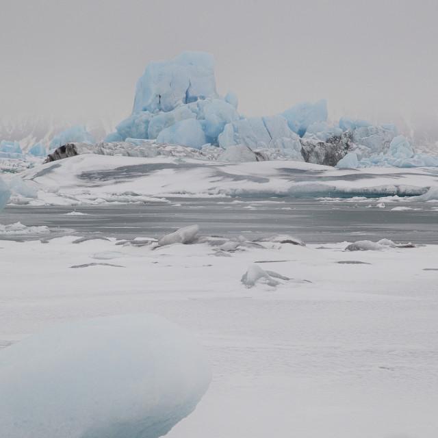 """""""JOKULSARLON ICEBERG LAGOON IN ICELAND."""" stock image"""