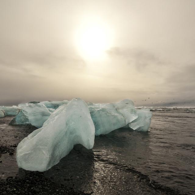 """DIAMOND BEACH IN ICELAND."" stock image"