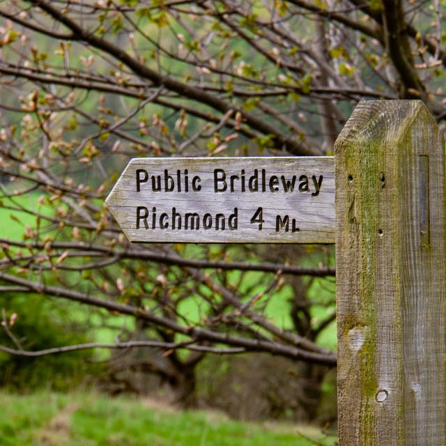 """Public Bridleway Sign to Richmond"" stock image"