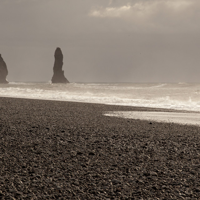 """THE ICELAND BLACK SAND BEACH"" stock image"