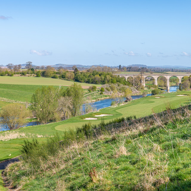 """Roxburgh Viaduct over River Teviot from Roxburghe Golf Course"" stock image"