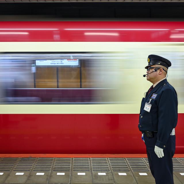 """Train Station Master"" stock image"