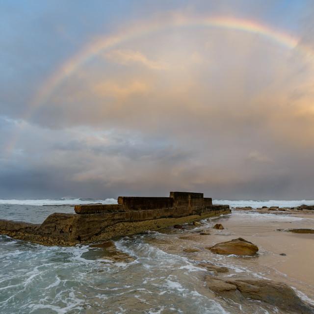 """Rainbow over Tidal Pool"" stock image"