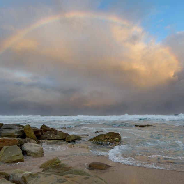 """Rainbow Over Ocean"" stock image"